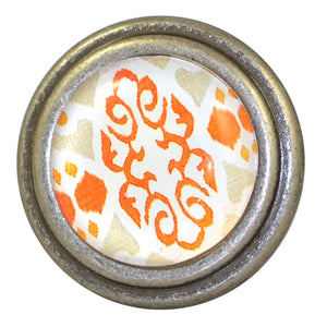Burnished Silver  round Knob - Ikat Leaves Orange and Yellow