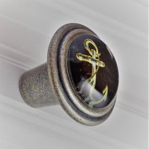 Burnished Silver Knob - Anchor White on Black