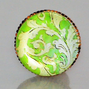 Retro Whitewashed Metal Knob – Green and Yellow Pattern