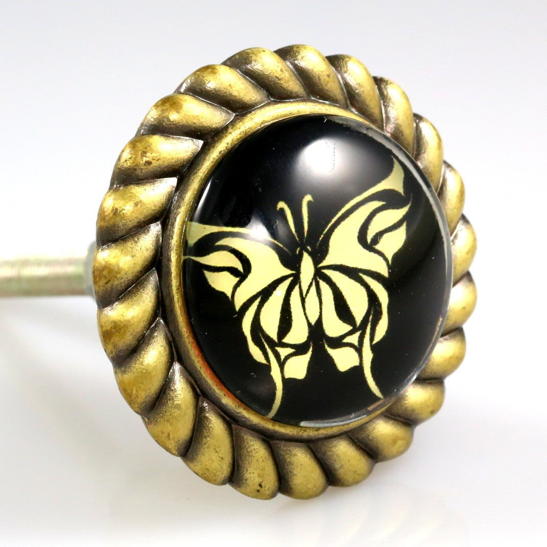 Premiere Class Brass with Glass Inlay Knob - Black and Gold Butterfly