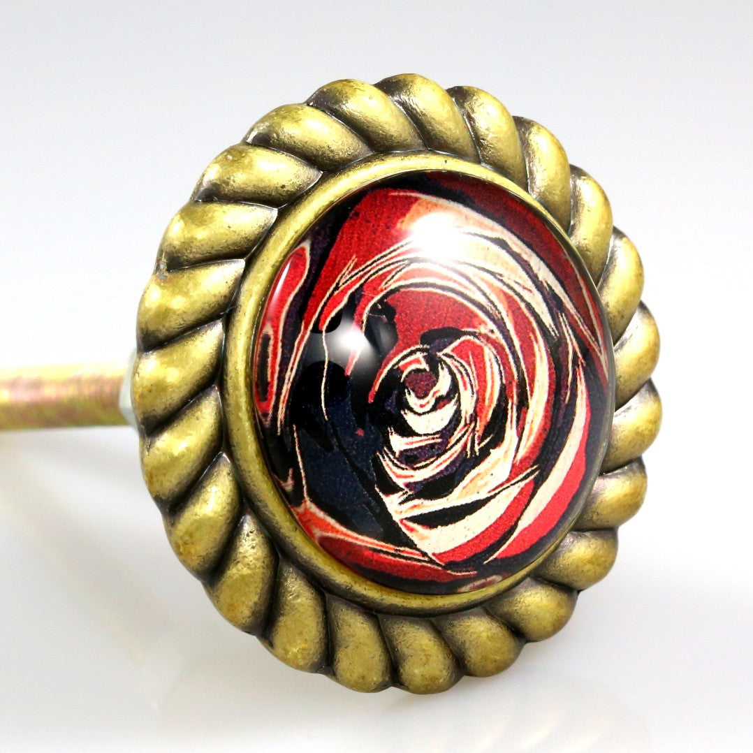 Premiere Class Brass with Glass Inlay Knob - Red Rose