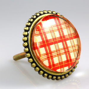 Premiere Class Brass with Glass Inlay Knobs - Red Gingham