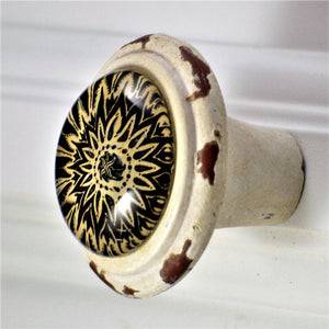 Retro Whitewashed Black and Tan Geometric Flower Knobs