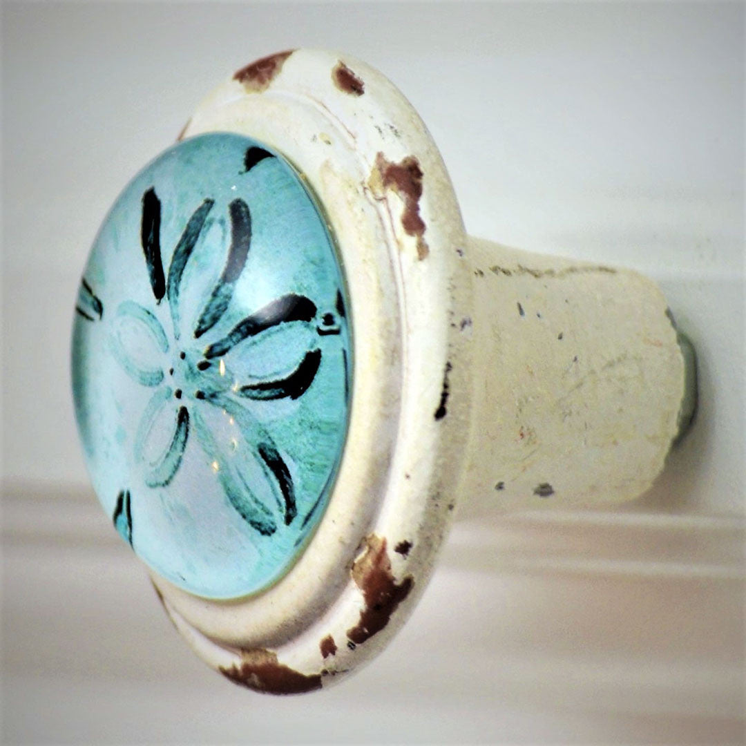 Retro Whitewashed Blue Sand Dollar Knobs