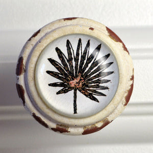 Retro Whitewashed Dark Palm Leaf Knobs