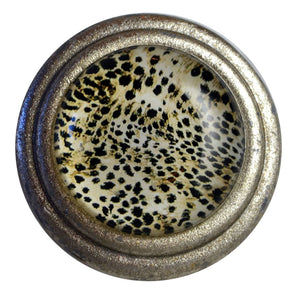 Brushed Silver Knob - Art Deco Leopard Pattern