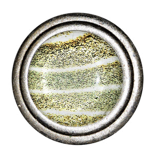 Brushed Silver Knob - Grey-Green and Yellow Wide Stripe