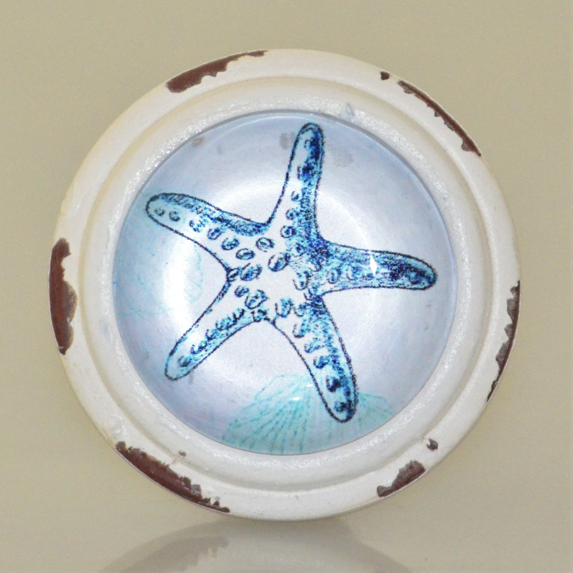 Rustic Whitewashed Blue Starfish Drawer Knob
