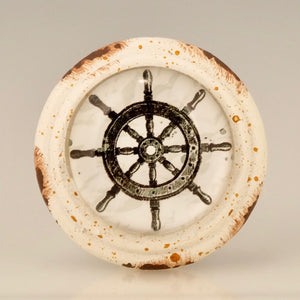 Retro Whitewashed  Knob - SHIP'S WHEEL