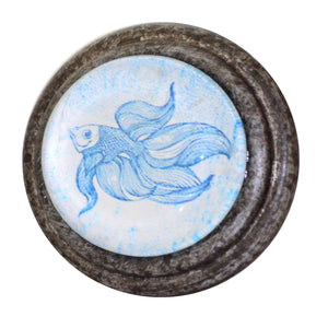 Blue and White Fish - Pewter Knob
