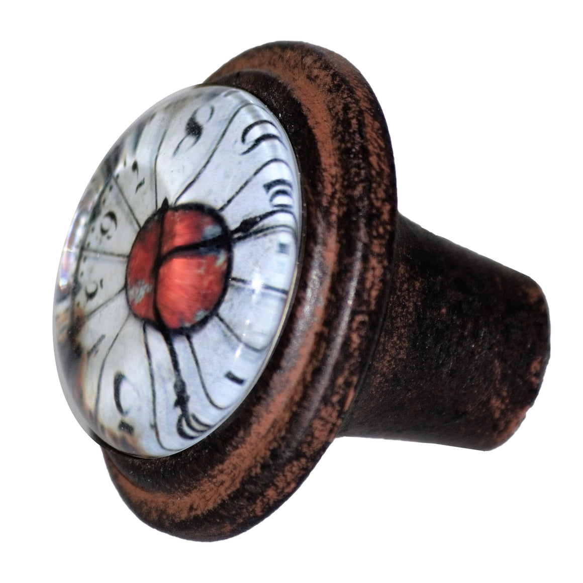 Antique Clock Face Iron Knob - Cafe Brown