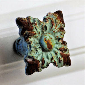 Rejuvenated Antique Iron Knob - Square Florette - Verdigris