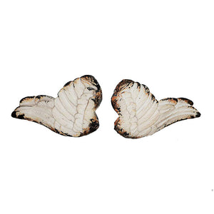 Whitewashed Pair of Cherub Wings Knobs