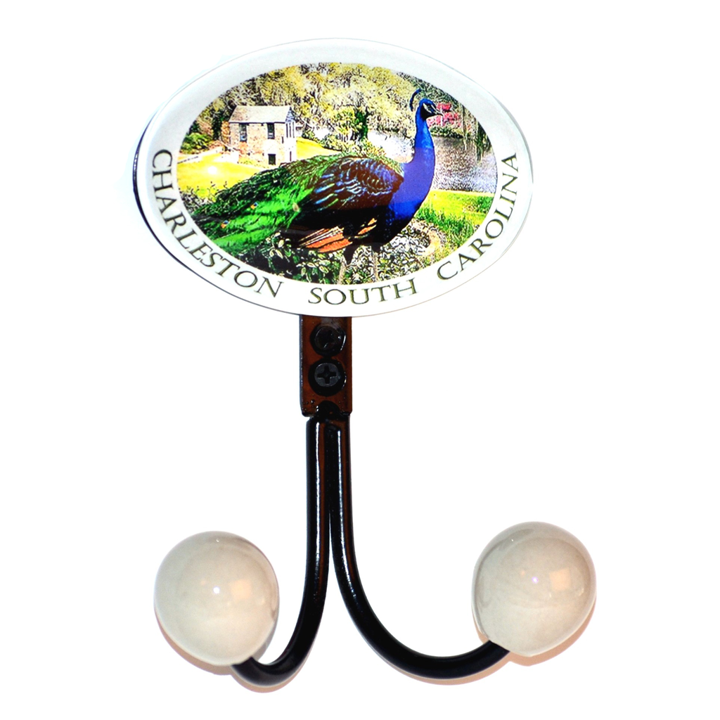 Pewter double hook with glass inlay of Charleston peacock artwork