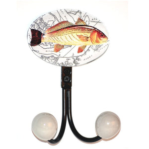 Pewter double hook with glass inlay of Charleston fish artwork