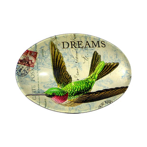 Pewter double hook with glass inlay of hummingbird dreams artwork