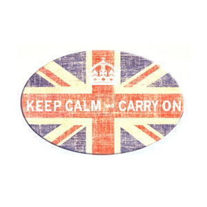 "Pewter single hook with glass inlay of British flag and ""Keep calm and carry on"" slogan artwork"