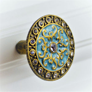 Cloisonne Jewel Knob - Blue