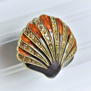 Cloisonne Jewel Knob - Scallop Shell Ruby