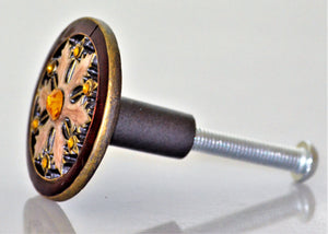 Cloisonne Jewel Knob - Gold and Ruby Wheel