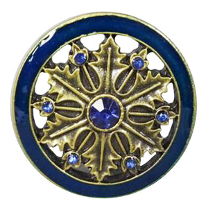 Cloisonne Jewel Knob - Gold and Blue Wheel