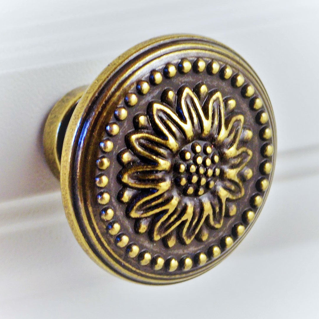 Antique Copper Floral Knob