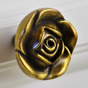 Antique Copper Decorative Knob Rose Pattern