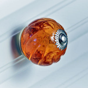Crystal Glass Handcrafted Knob - Amber