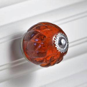 Crystal Glass Handcrafted Knob - Honey