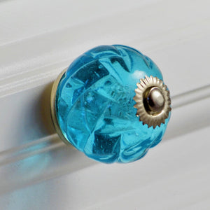 Crystal Glass Handcrafted Knob - Aqua Blue