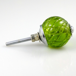 Crystal Glass Handcrafted Knob - Olive Green