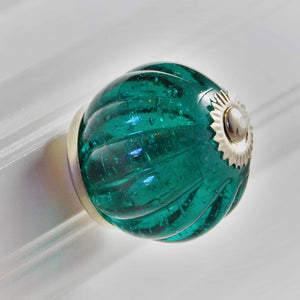 round Crystal Glass Handcrafted  Ribbed Knob - Teal