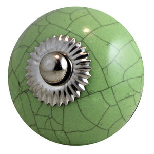 Ceramic Rustic Chic Knob – Crackled Green Round