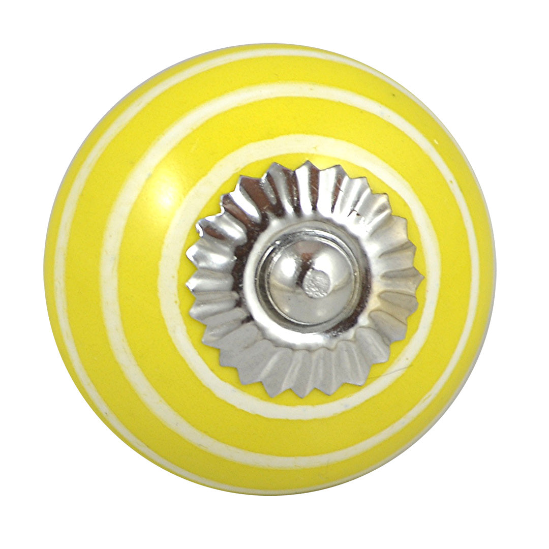 round Ceramic Striped Knob White on Yellow