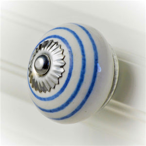 Ceramic Striped Knob – Blue on White