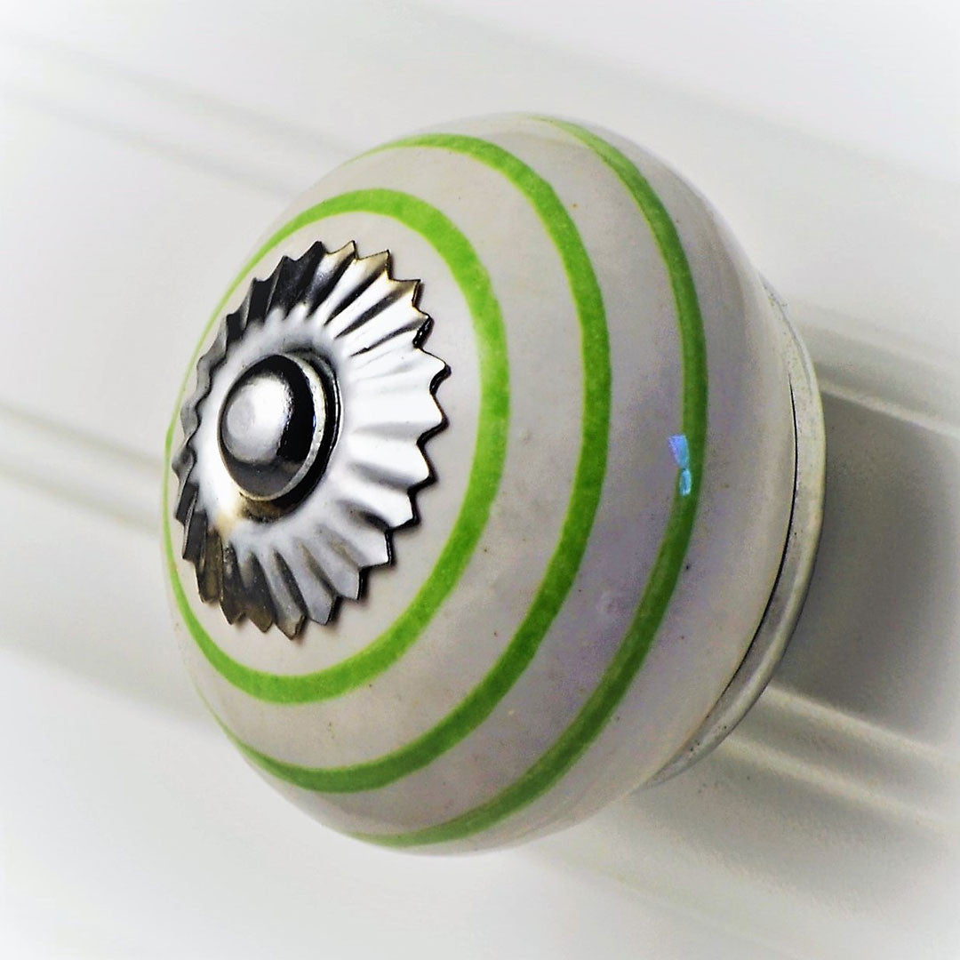 Ceramic Striped Knob – Green on White