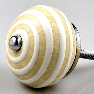 Contemporary Cottage Ceramic Knob – Vanilla Cafe - Round