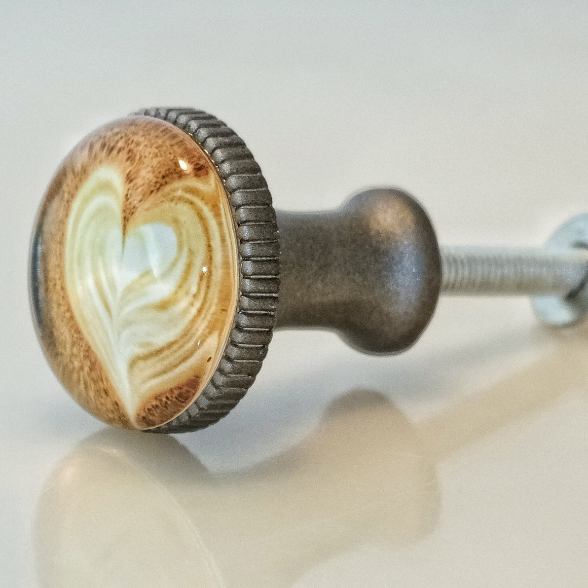 Coffee Latte Art Pewter Knob - Heart Design