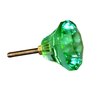 Crystal Glass Facet Knob - Mint