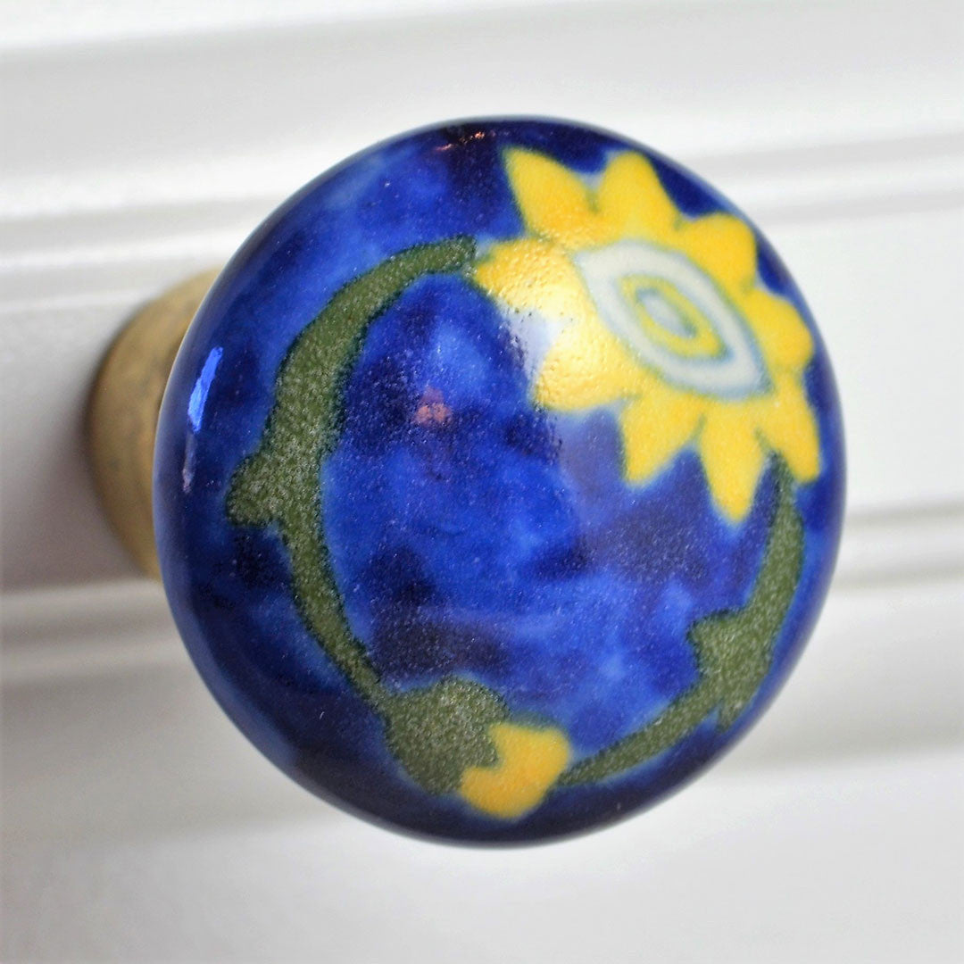 Cottage Chic Ceramic Knob - yellow and blue