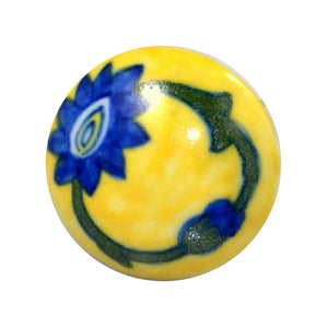 Cottage Chic Ceramic Knob – Yellow and Blue Floral