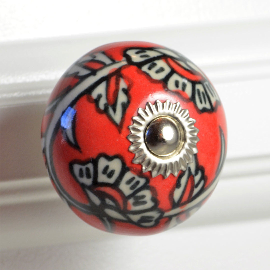 Cottage Chic Farmhouse Black and Red Ceramic Knob