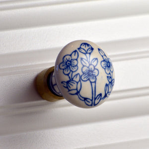 Cottage Chic Ceramic Knob - blue floral on white design