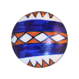 Cottage Chic Ceramic Knob - red, white and blue Southwestern flair