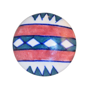Cottage Chic Ceramic Knob - red, white and green Southwestern flair