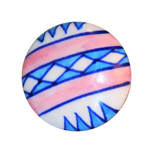 Cottage Chic Ceramic Knob - pink, white and blue Southwestern flair