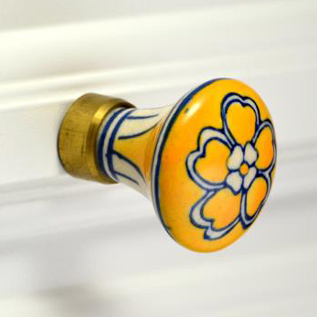 Chic Ceramic Knob - yellow floral design