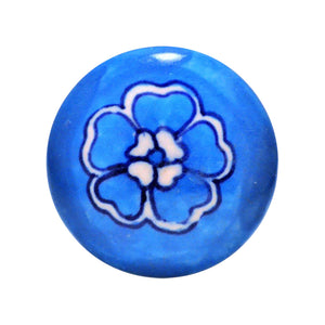 Cottage Chic Ceramic Knob – Blue and white floral design