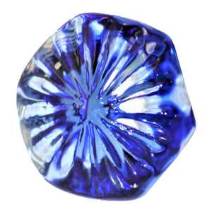 Blue and Clear Glass Knob - Faceted