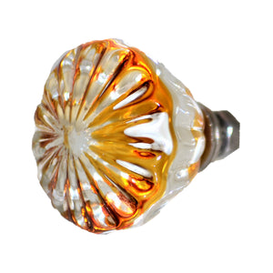 Amber and Clear Glass Knob Daisy Charleston Knob Company